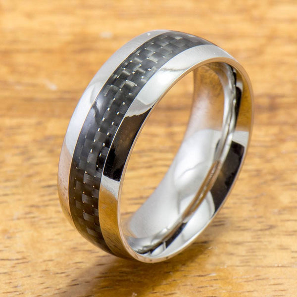 Stainless Steel Ring with Carbon Fiber Inlay (8mm width, Barrel Style)