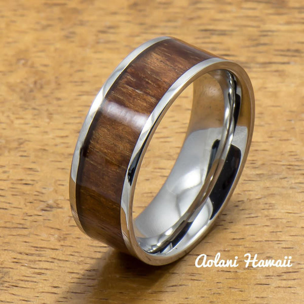 Stainless Steel Ring with Hawaiian Koa Wood (6mm - 8mm width, Flat Style) - Aolani Hawaii - 1