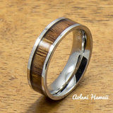 Stainless Steel Ring with Hawaiian Koa Wood (6mm - 8mm width, Flat Style) - Aolani Hawaii - 2
