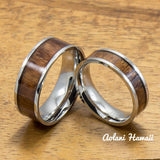 Stainless Steel Ring with Hawaiian Koa Wood (6mm - 8mm width, Flat Style) - Aolani Hawaii - 3
