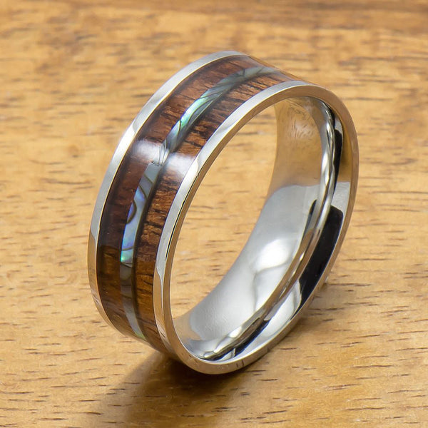 Stainless Steel Ring with Hawaiian Koa Wood & Abalone Inlay (8mm width, Flat style)