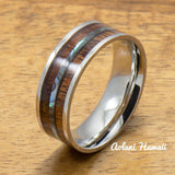 Stainless Steel Ring with Hawaiian Koa Wood & Abalone Inlay (8mm width, Flat style) - Aolani Hawaii