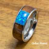 Stainless Steel Ring with Hawaiian Koa Wood & Opal Inlay (8mm width, Barrel style) - Aolani Hawaii
