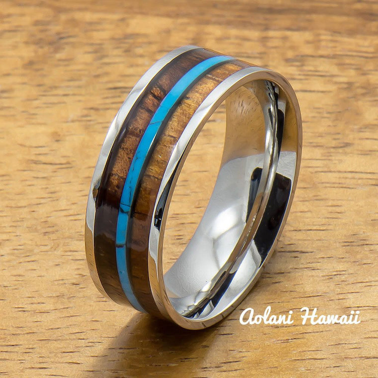 Stainless Steel Ring with Hawaiian Koa Wood & Turquoise Inlay (8mm width, Flat style)