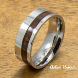 A Pair of Stainless Steel Rings with Hawaiian Koa Wood (6mm & 8mm width) - Aolani Hawaii - 2