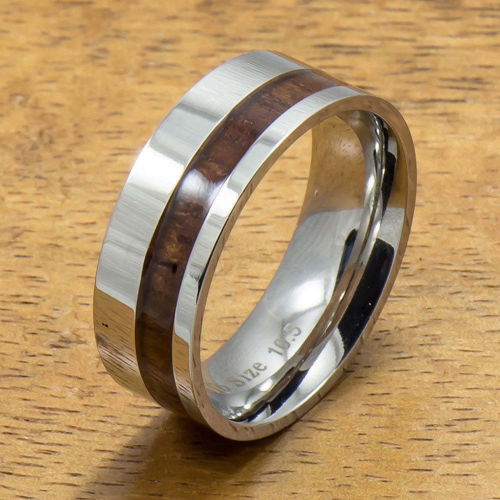 Stainless Steel Ring with Off Center Hawaiian Koa Wood (6mm - 8mm width, Flat style)