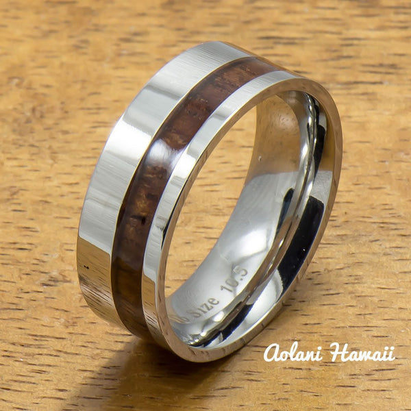 Stainless Steel Ring with Off Center Hawaiian Koa Wood (6mm - 8mm width, Flat style) - Aolani Hawaii - 1