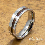 Stainless Steel Ring with Off Center Hawaiian Koa Wood (6mm - 8mm width, Flat style) - Aolani Hawaii - 2
