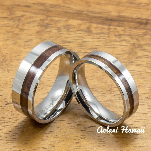 Stainless Steel Ring with Off Center Hawaiian Koa Wood (6mm - 8mm width, Flat style) - Aolani Hawaii - 3