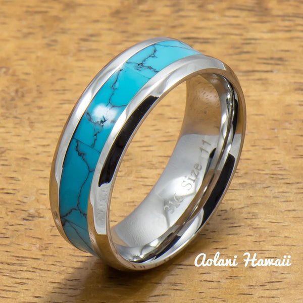 Stainless Steel Wedding Band Set with turquoise Inlay (6mm - 8mm Width, Flat style) - Aolani Hawaii - 2
