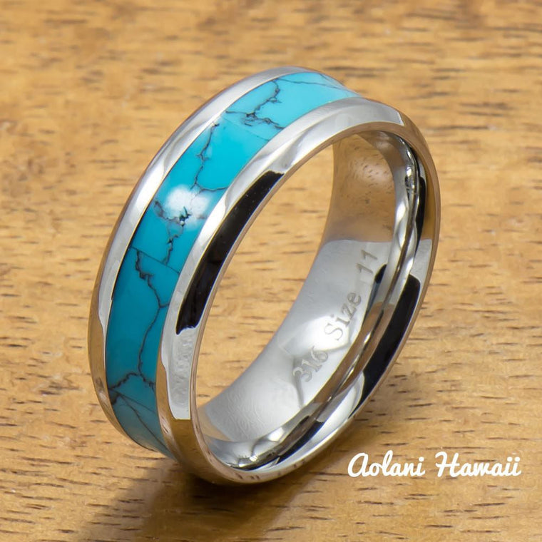 Stainless Steel Ring with Turquoise Inlay (6mm - 8mm width, Flat style)
