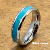 Stainless Steel Wedding Band Set with turquoise Inlay (6mm - 8mm Width, Flat style) - Aolani Hawaii - 3