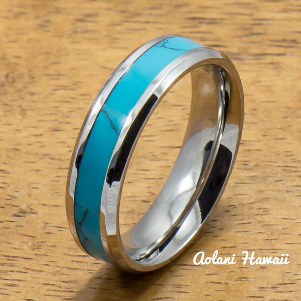 Stainless Steel Ring with Turquoise Inlay (6mm - 8mm width, Flat style) - Aolani Hawaii - 2