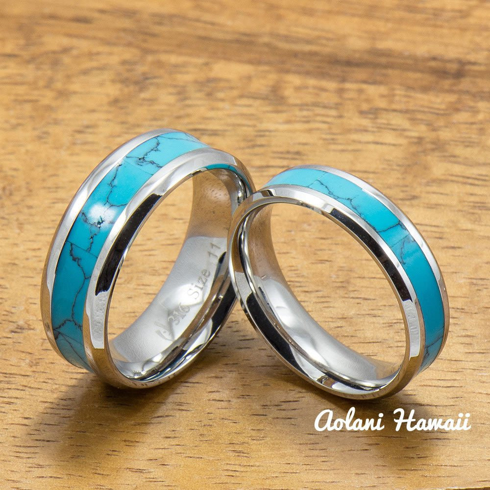 Stainless Steel Wedding Band Set with turquoise Inlay (6mm - 8mm Width, Flat style) - Aolani Hawaii - 1