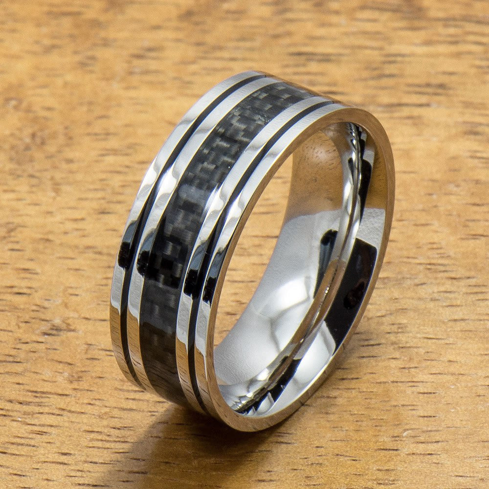 Stainless Steel Ring with with Carbon Fiber Inlay (6mm - 8mm width, Flat Style)