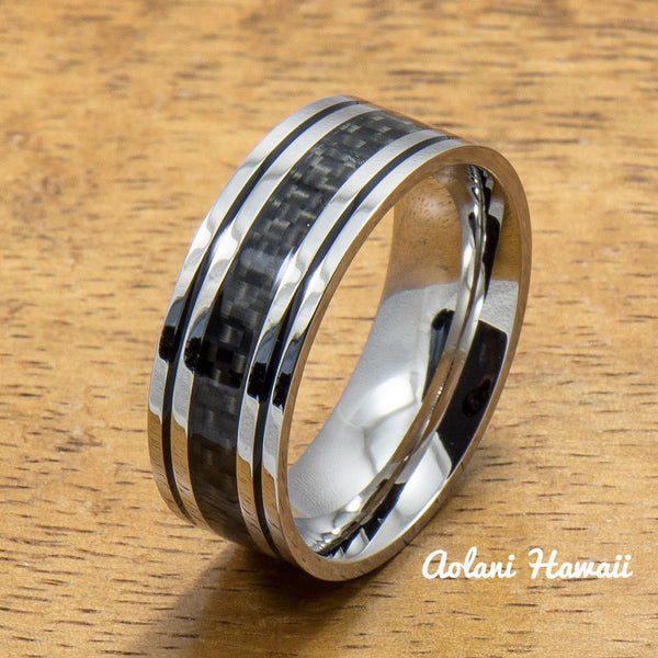 Stainless Steel Ring with with Carbon Fiber Inlay (6mm - 8mm width, Flat Style) - Aolani Hawaii - 1