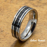 Stainless Steel Ring with with Carbon Fiber Inlay (6mm - 8mm width, Flat Style) - Aolani Hawaii - 2