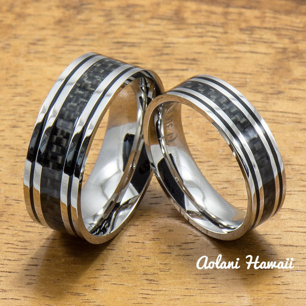 Stainless Steel Ring with with Carbon Fiber Inlay (6mm - 8mm width, Flat Style) - Aolani Hawaii - 3