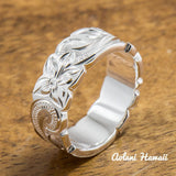 Sterling Silver Ring with Hand engraved Hawaiian Designs (6mm - 8mm width, Flat Cutout style) - Aolani Hawaii - 1
