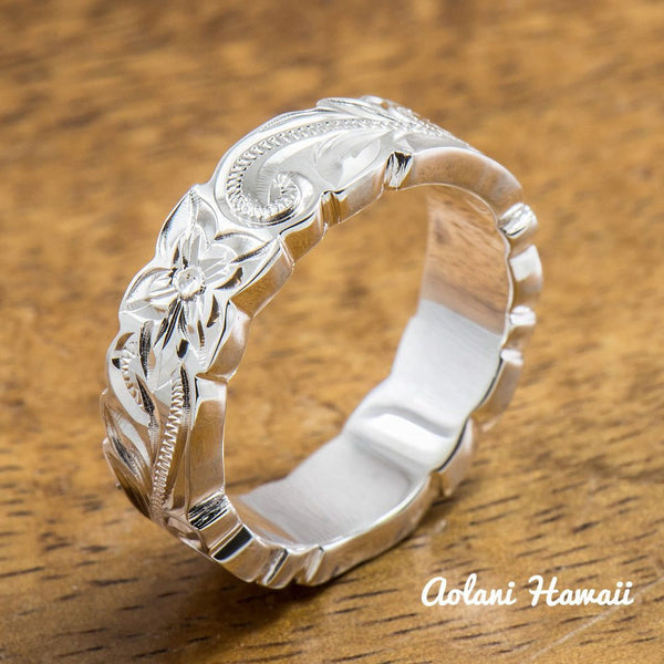 Sterling Silver Ring with Hand engraved Hawaiian Designs (6mm - 8mm width, Flat Cutout style) - Aolani Hawaii - 2