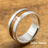 Sterling Silver Ring with Hawaiian Koa Wood Inlay (6-8mm width, Barrel style) - Aolani Hawaii - 1