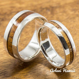 Sterling Silver Ring with Hawaiian Koa Wood Inlay (6-8mm width, Barrel style) - Aolani Hawaii - 3