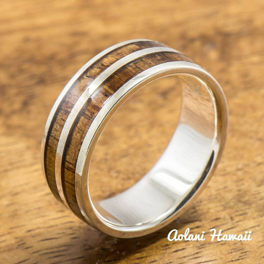 Sterling Silver Ring with Hawaiian Koa Wood Inlay (6mm - 8mm width, Barrel style) - Aolani Hawaii - 1
