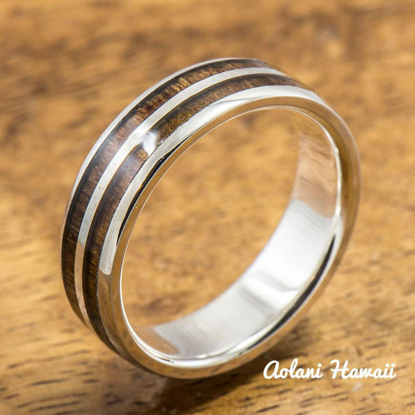 Sterling Silver Ring with Hawaiian Koa Wood Inlay (6mm - 8mm width, Barrel style) - Aolani Hawaii - 2