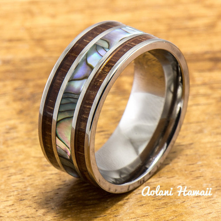 Titanium Ring with Abalone and Hawaiian Koa Wood Inlay (10mm width, Flat Style)