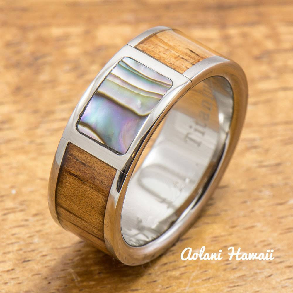 Titanium Ring with Abalone and Hawaiian Koa Wood Inlay (8mm width,  Flat Style) - Aolani Hawaii