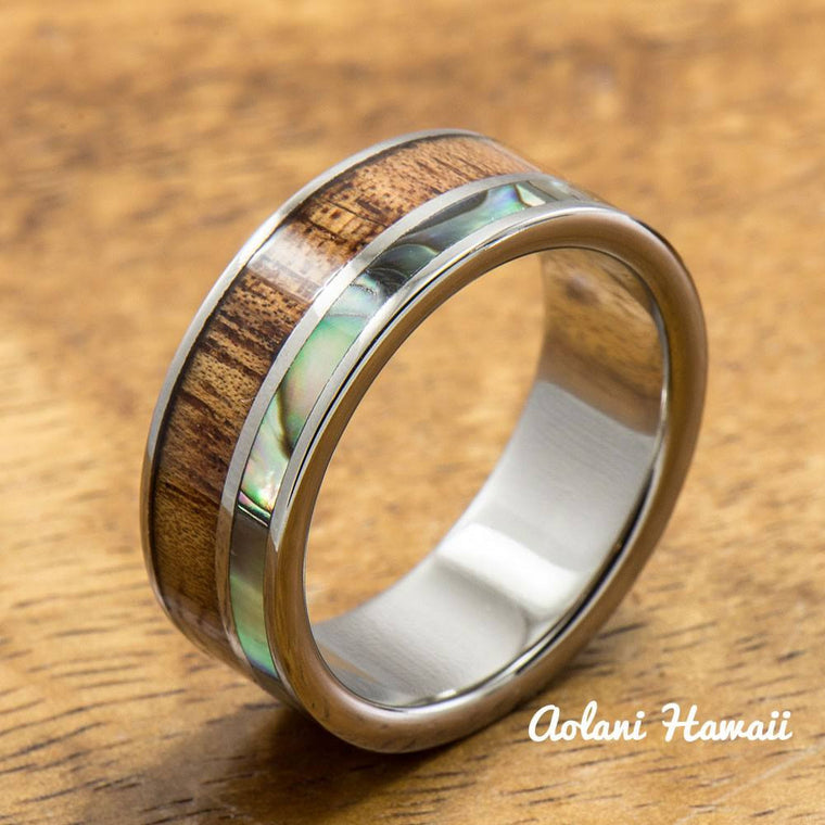 Titanium Ring with Abalone and Hawaiian Koa Woodm Inlay (8mm width, Flat Style)