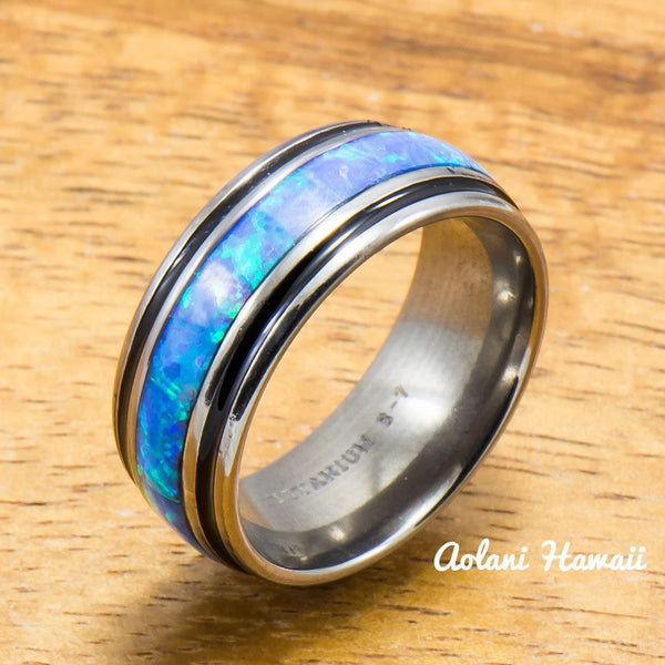 Titanium Ring with Black Border and Opal Inlay (8mm width, Barrel Style) - Aolani Hawaii