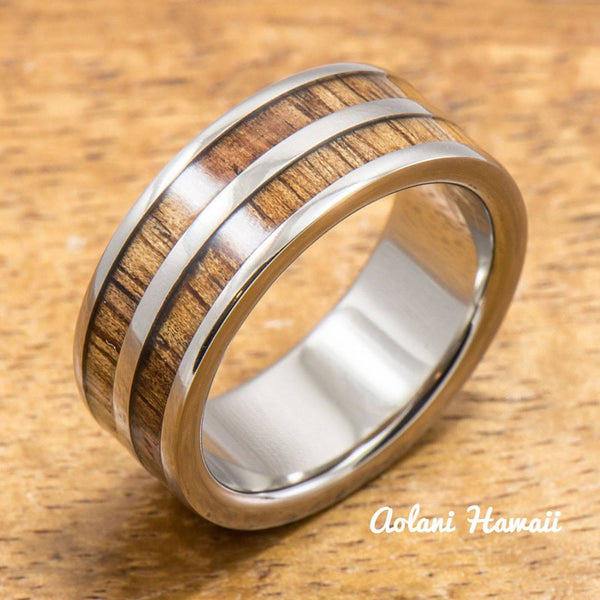 Titanium Ring with Double Hawaiian Koa Woodm Inlay (6mm - 8 mm width, Flat Style) - Aolani Hawaii - 1