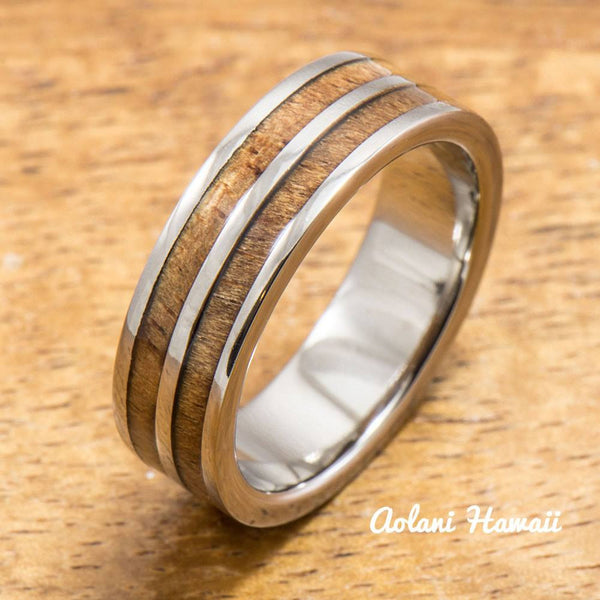 Titanium Ring with Double Hawaiian Koa Woodm Inlay (6mm - 8 mm width, Flat Style) - Aolani Hawaii - 2
