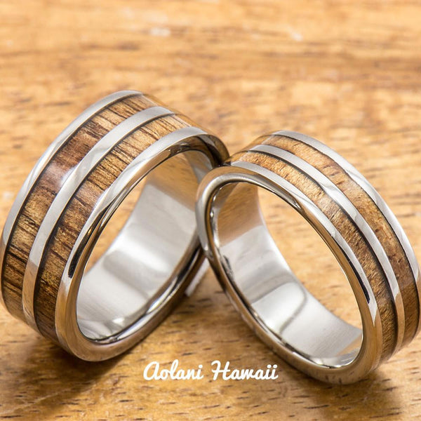 Titanium Wedding Band Set with Hawaiian Koa Wood Inlay (6mm - 8mm Width, Flat Style) - Aolani Hawaii - 1