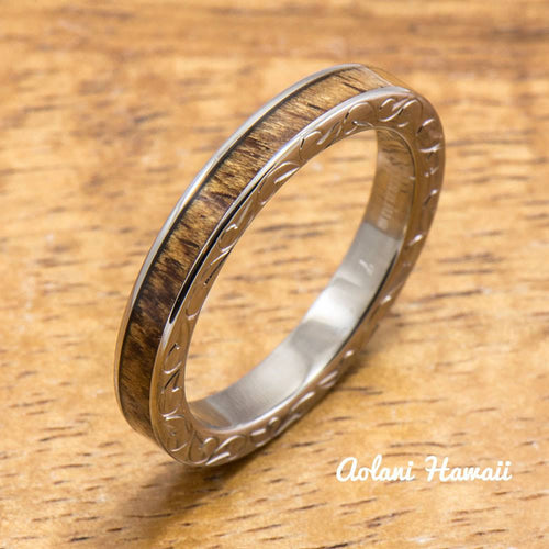 Titanium Ring with Hawaiian Koa Wood Inlay (3mm width, Flat Style) - Aolani Hawaii - 1