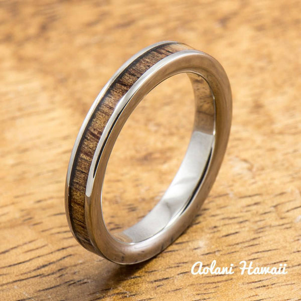 Tulip and Hawaiian Koa Titanium Wedding Band Set (3mm - 3mm Width, Flat Style) - Aolani Hawaii - 3