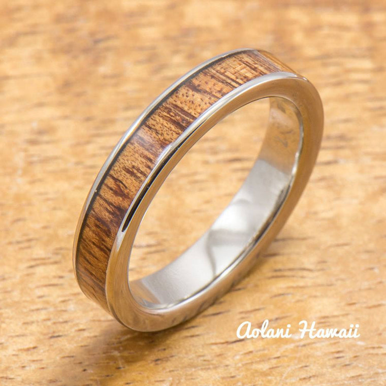 Titanium Ring with Hawaiian Koa Wood Inlay (4-6mm width, Flat Style)
