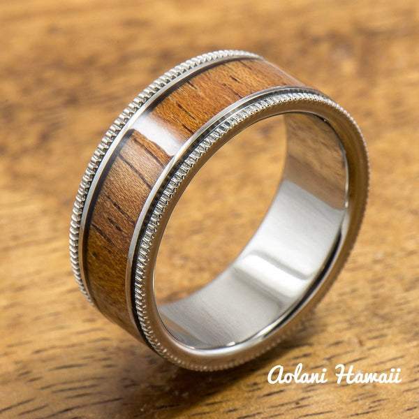 Titanium Ring with Hawaiian Koa Wood Inlay (6mm - 8 mm width, Flat Style) - Aolani Hawaii - 1