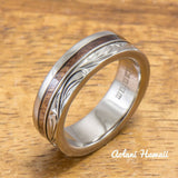 Titanium Ring with Hawaiian Koa Wood Inlay (6mm - 8 mm width, Flat Style) - Aolani Hawaii - 2