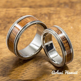 Titanium Ring with Hawaiian Koa Wood Inlay (6mm - 8 mm width, Flat Style) - Aolani Hawaii - 3