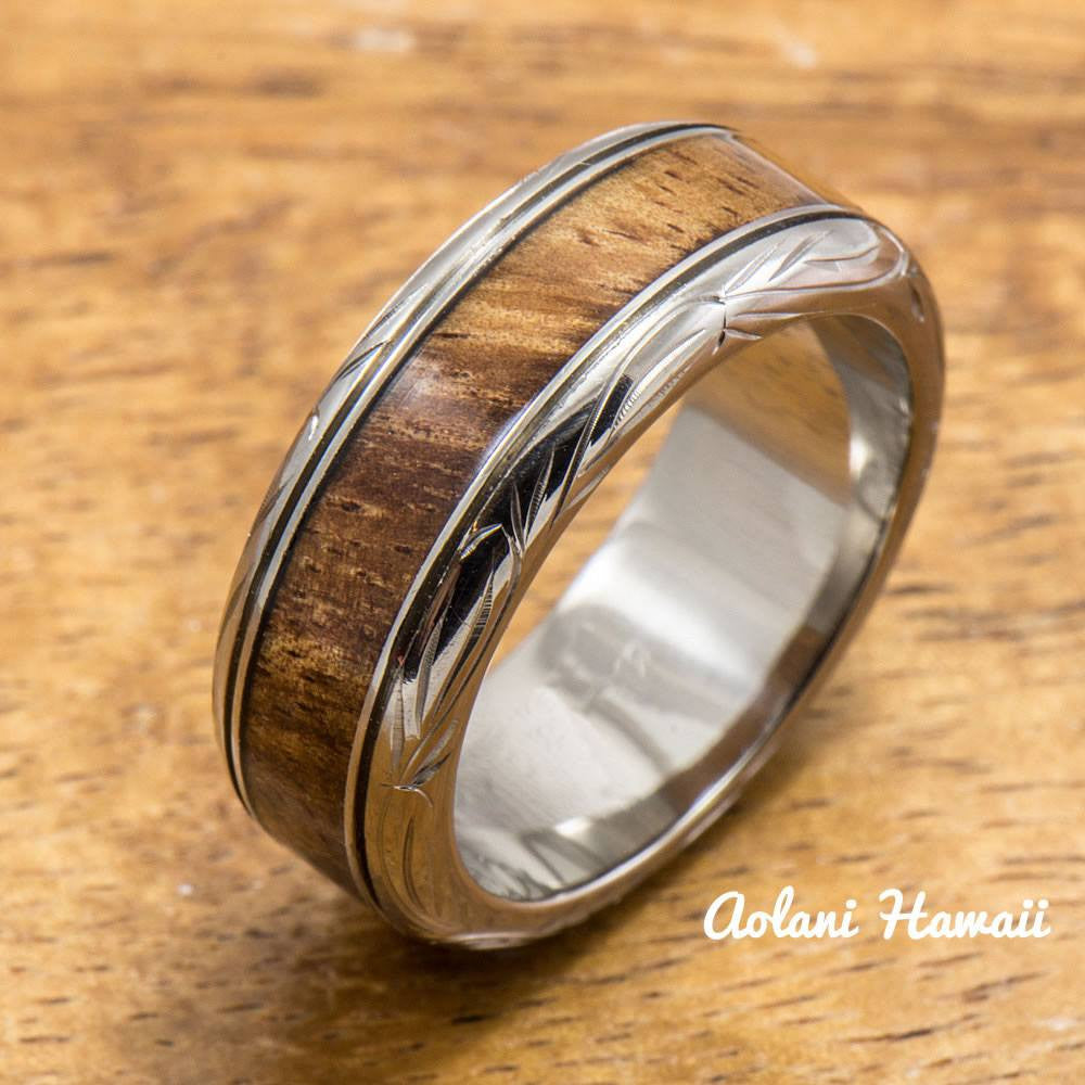 Titanium Ring with Hawaiian Koa Wood Inlay (8mm width, Barrel Style) - Aolani Hawaii
