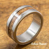 Titanium Ring with Hawaiian Koa Woodm Inlay (6mm - 8 mm width, Flat Style) - Aolani Hawaii - 1