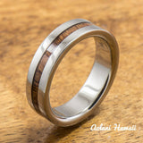 Titanium Ring with Hawaiian Koa Woodm Inlay (6mm - 8 mm width, Flat Style) - Aolani Hawaii - 2