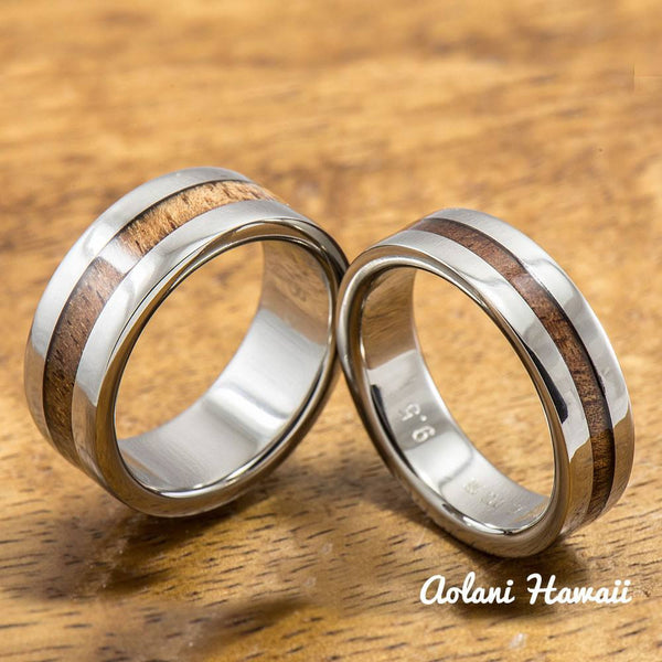 Titanium Ring with Hawaiian Koa Woodm Inlay (6mm - 8 mm width, Flat Style) - Aolani Hawaii - 3