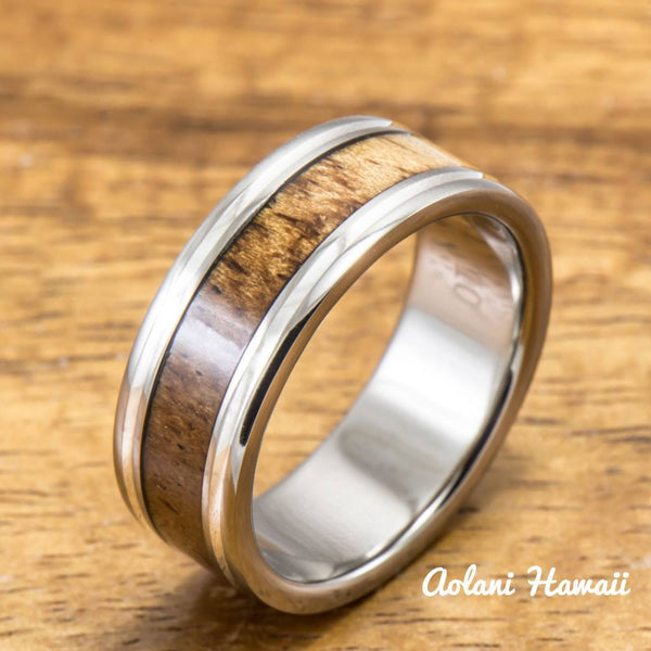 Titanium Ring with Koa Wood and Double Silver Line Inlay (8mm width, Flat Style) - Aolani Hawaii