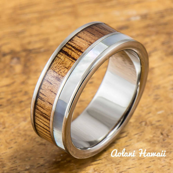 Titanium Ring with Koa Wood and Mother of Pearl Inlay (8mm width, Flat Style) - Aolani Hawaii