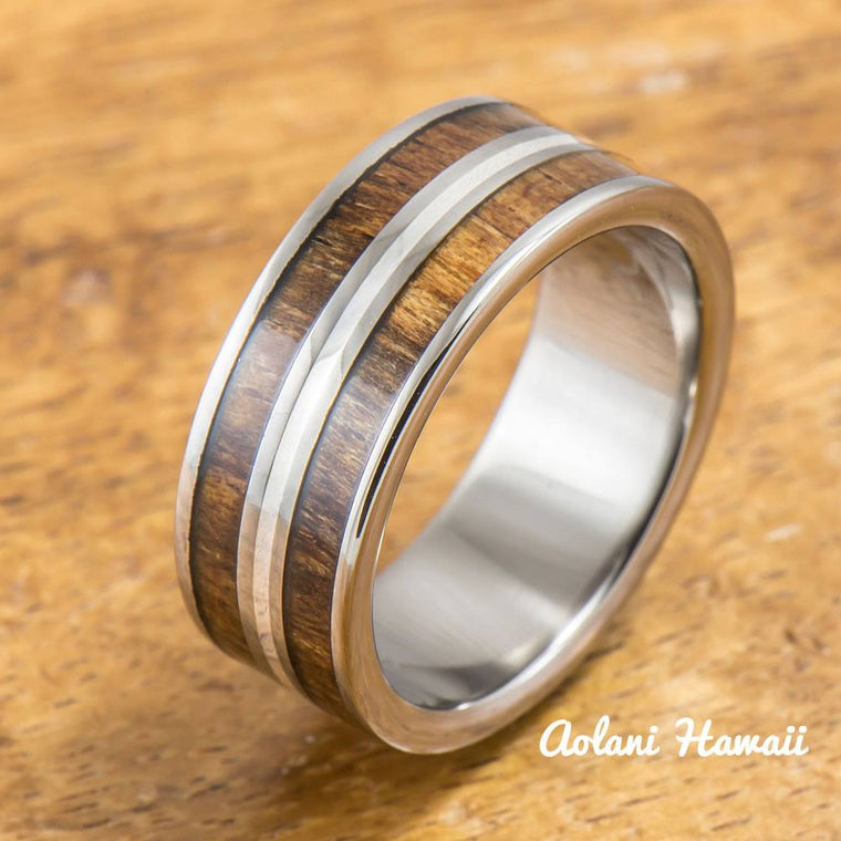 Titanium Ring with Koa Wood and Silver Line Inlay (8mm width, Flat Style)