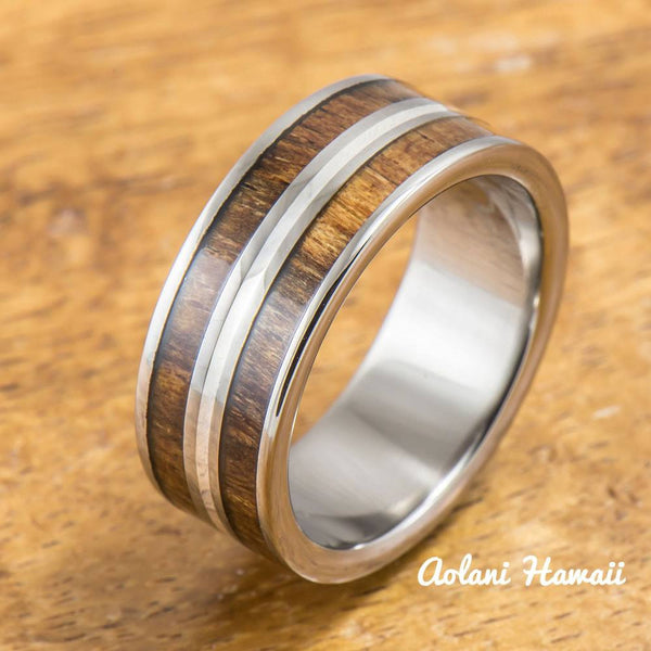 Titanium Ring with Koa Wood and Silver Line Inlay (8mm width, Flat Style) - Aolani Hawaii