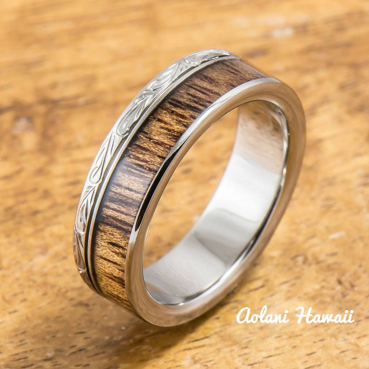 Titanium Ring with Koa Wood Inlay (6mm width, Flat Style)